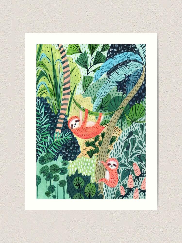 Alternate view of Jungle Sloth Family Art Print