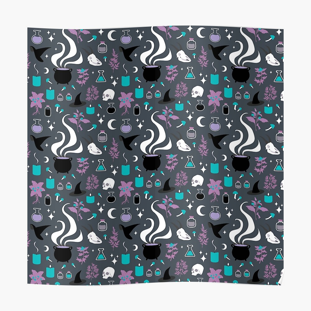 Witchy Pattern - Dark Poster