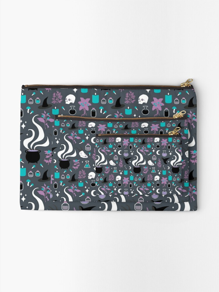 Alternate view of Witchy Pattern - Dark Zipper Pouch