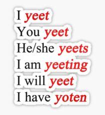 yeet verb chart Sticker