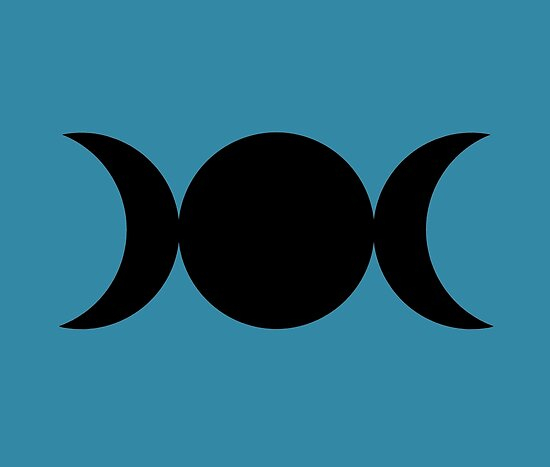 Triple Goddess Symbol Black On Blue Moon Posters By