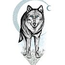 Spirit Wolf & the Crescent Moon by ShaireProd