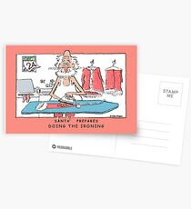 Santa Prepares -Doing The Ironing Postcards