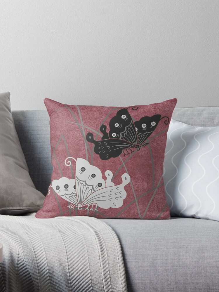 Retro Black & White Butterfly Design Print by critterville