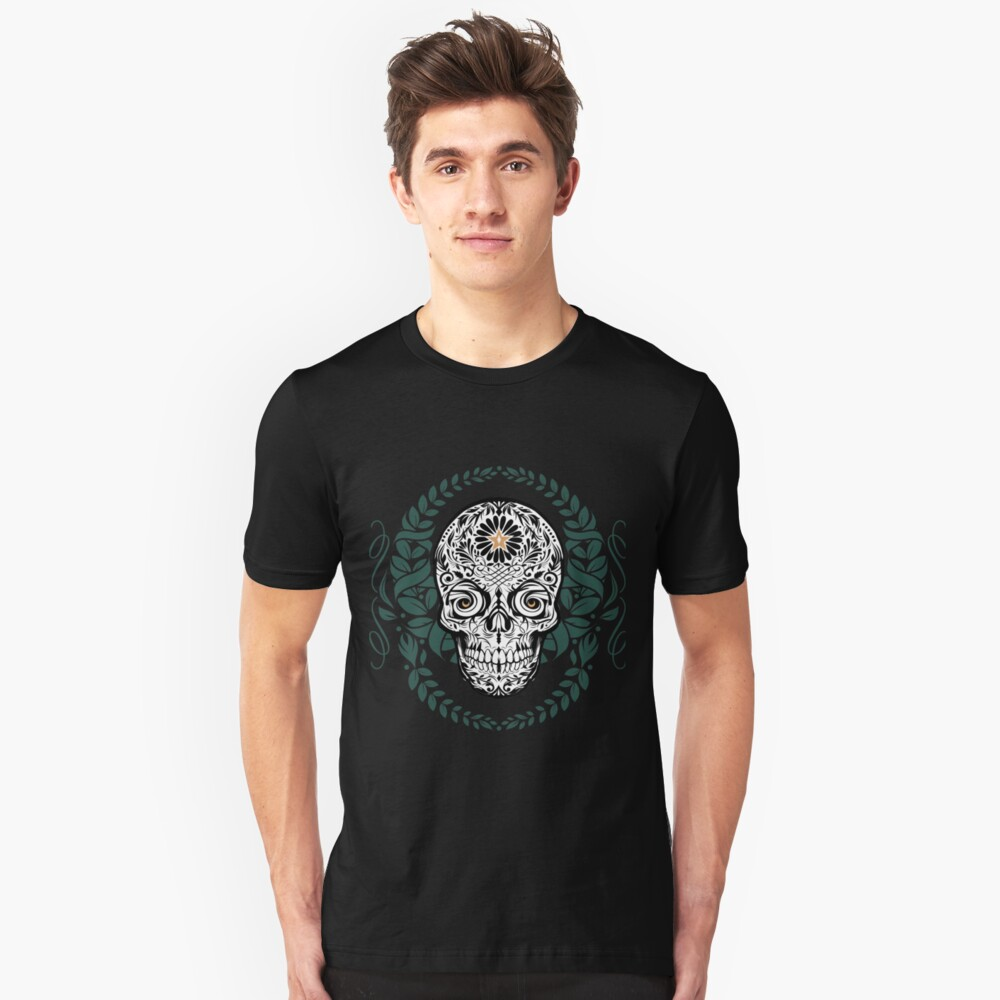 Sugar Skull Wreath Tee Shirt Design, Digital Art by Sherrie Thai Shaireproductions.com