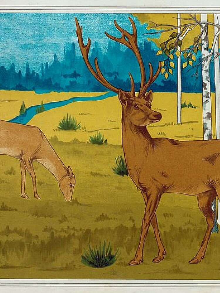Victorian Era Art Piece Featuring Doe and Deer in the Wilderness by critterville