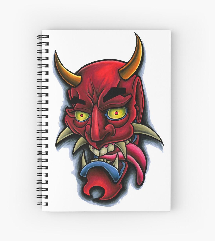 Cuadernos De Espiral Máscara Japonesa De Hannya Diseño Del Tatuaje