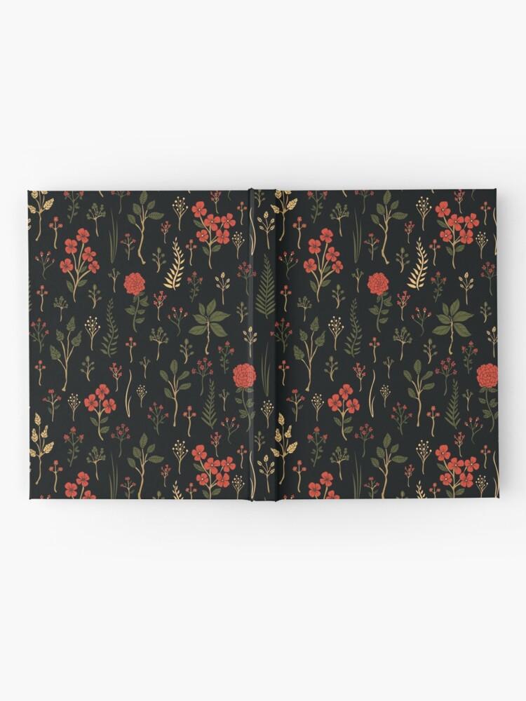 Alternative Ansicht von Grüner, Rot-Orange und schwarzer Blumen- / botanischer Druck Notizbuch