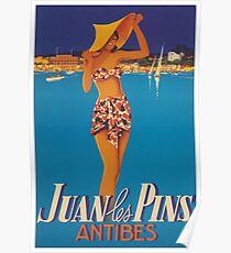Juan Les Pins, France Vintage Travel Poster Poster
