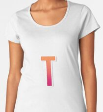 The Letter T Typography Sticker Women's Premium T-Shirt