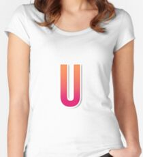 The Letter U Typography Sticker Women's Fitted Scoop T-Shirt