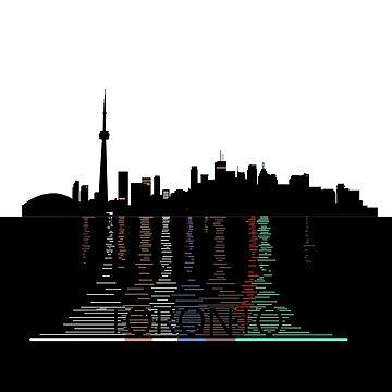 Toronto Skyline, Reflecting lights by mjammer