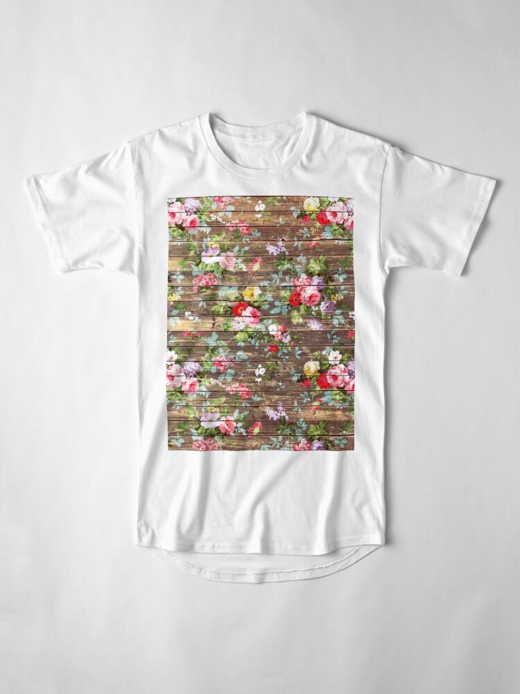 Alternative Ansicht von Blumen-rustikales braunes Holz der eleganten rosa Rosen Longshirt