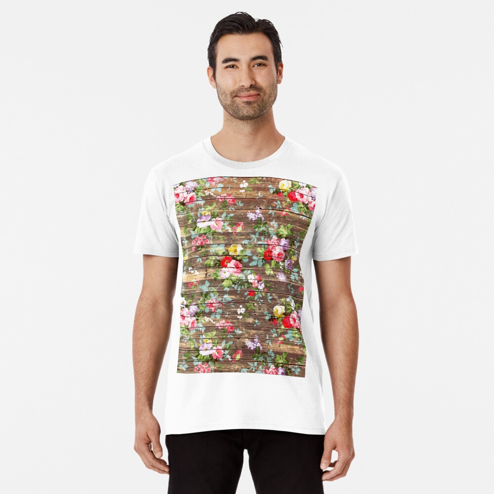 Blumen-rustikales braunes Holz der eleganten rosa Rosen Premium T-Shirt