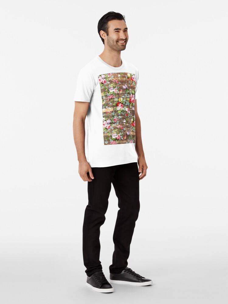 Alternative Ansicht von Blumen-rustikales braunes Holz der eleganten rosa Rosen Premium T-Shirt