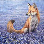 Sea of blue stars - fox and blue flowers von Schiraki