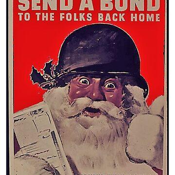 Vintage Santa T-Shirt Christmas Retro WW2 Poster Nostalgic by TopTeeShop