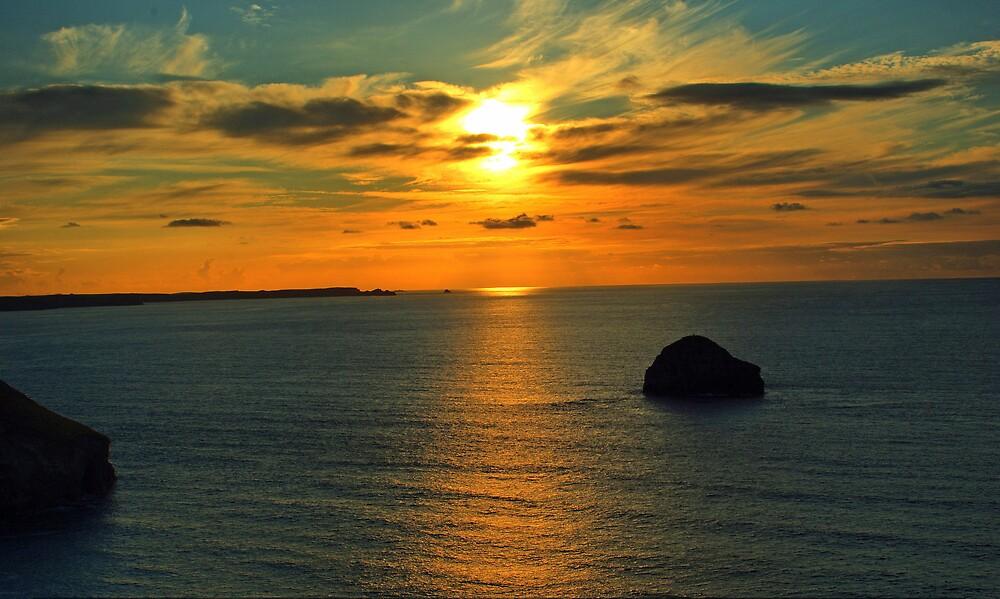 Trebarwith Strand sunset by David Wilkins