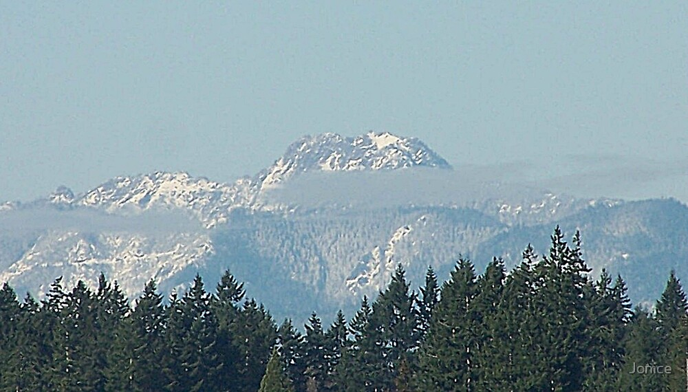 Olympic Mountains With Snow by Jonice