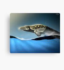 Tylosaur surfing Canvas Print