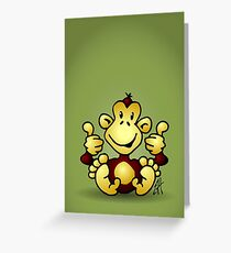 Manic Monkey with 4 thumbs up Greeting Card
