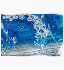 Blue and white agate crystal Poster