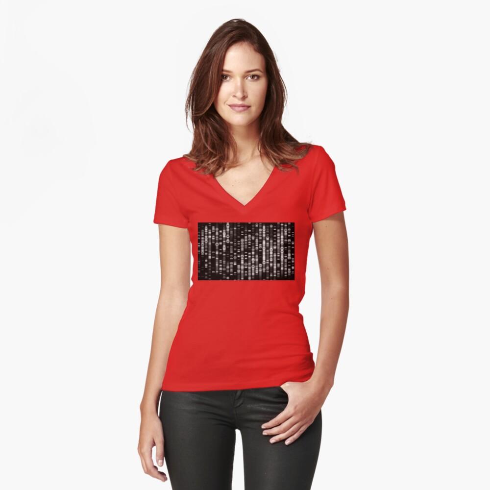 Abstrakte DNA - Schwarz - © Doc Braham; Alle Rechte vorbehalten Tailliertes T-Shirt mit V-Ausschnitt