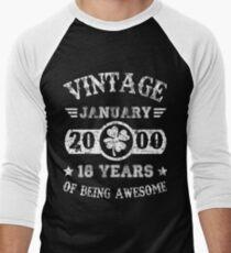 Straight Outta 2000 Tshirt 18th Birthday 2018 Gift Men's Baseball ¾ T-Shirt