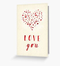 Love you! Watercolor Hearts. Greeting Card