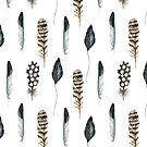 Boho Feather Pattern by blackcatprints