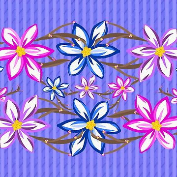 Violet Stripes with Flowers by Gravityx9