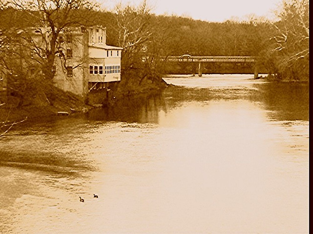 Upstream view of the Perkiomen Creek and the hotel in winter. by drumsandkeys
