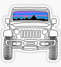Jeep-Sonnenuntergang mit Bergen Sticker