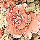 botanical traditional chinese painting watercolor coral pink peony by lfang77