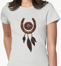 Dream-catcher Horseshoe with Feathers Women's Fitted T-Shirt