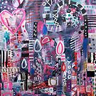 Birthday Abstract Collage Painting by melaniebiehle