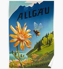 Allgäu, Bayern, Deutschland, Weinlese-Reise-Plakat Poster