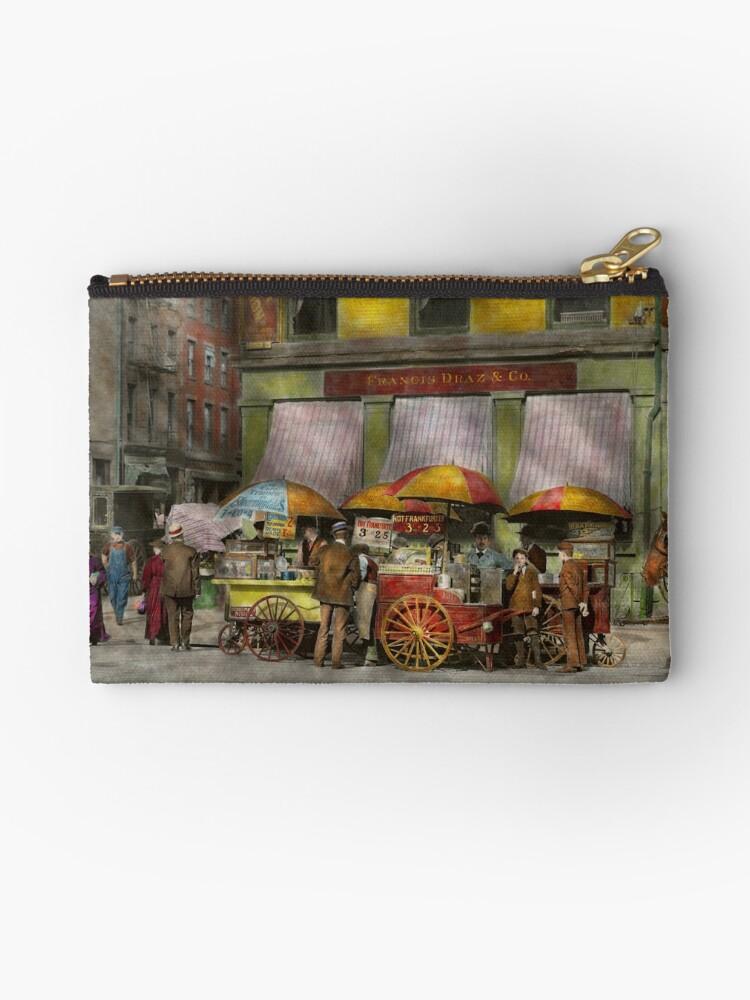 City - NY- Lunch carts on Broadway St NY - 1906 by Michael Savad