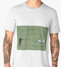 hunter shoots white ducks flat lay Men's Premium T-Shirt