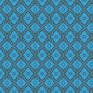 Blue Flowers Bohemian Floral Arabesque Pattern  by clipsocallipso