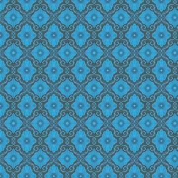Palatial floral, bohemian floral in gray and blue colors by clipsocallipso