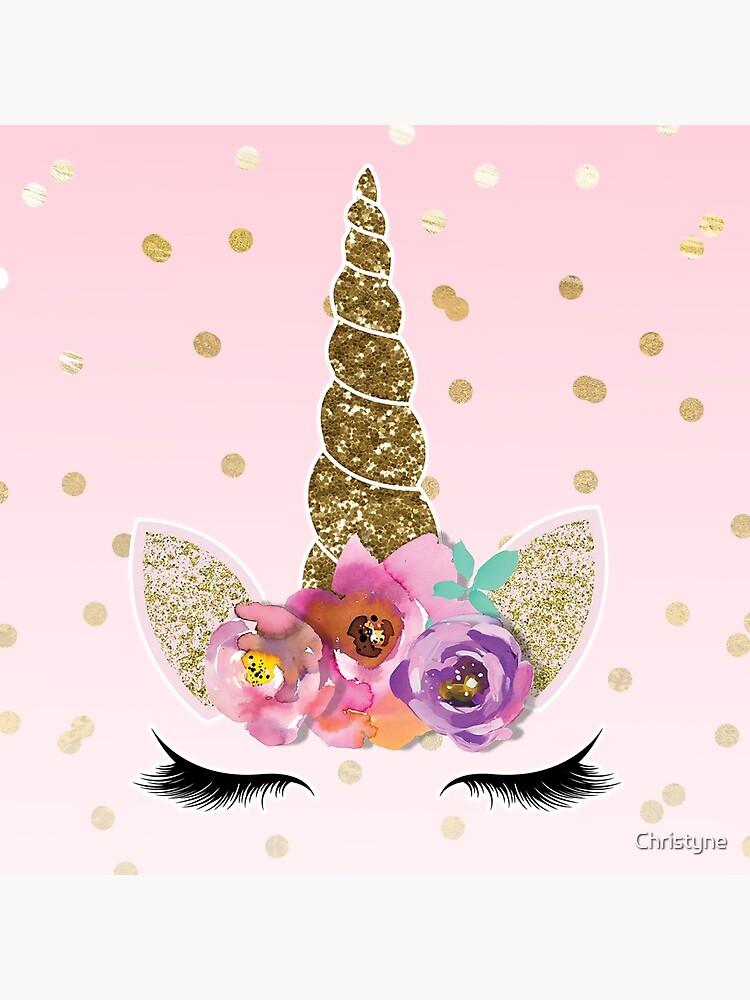 Confeti floral cuerno y oro unicornio de Christyne