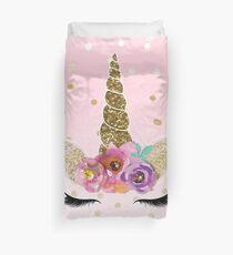 Funda nórdica Confeti floral cuerno y oro unicornio