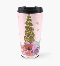 Floral Unicorn Horn & Gold Konfetti Thermobecher