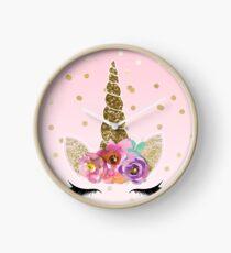 Floral Unicorn Horn & Gold Confetti Clock