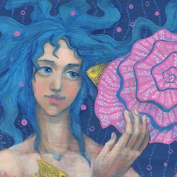 Little Mermaid, Underwater Fantasy Art, Pink & Blue by clipsocallipso
