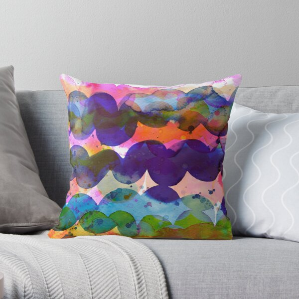 Abstract waves sunset watercolor painting - Colorful tidal Throw Pillow