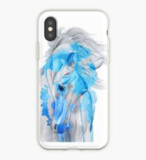 Sapphire blue watercolor stallion iPhone Case