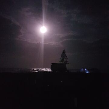 Night time camping on beach by spudbog