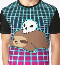 Skull Sloth Vaporwave Graphic T-Shirt